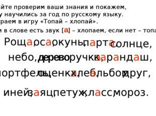 Давайте проверим ваши знания и покажем, чему научились за год по русскому язы