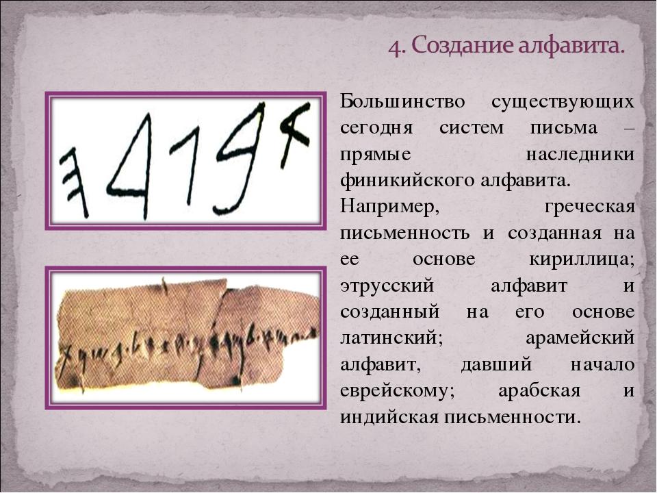 Большинство существующих сегодня систем письма – прямые наследники финикийско...
