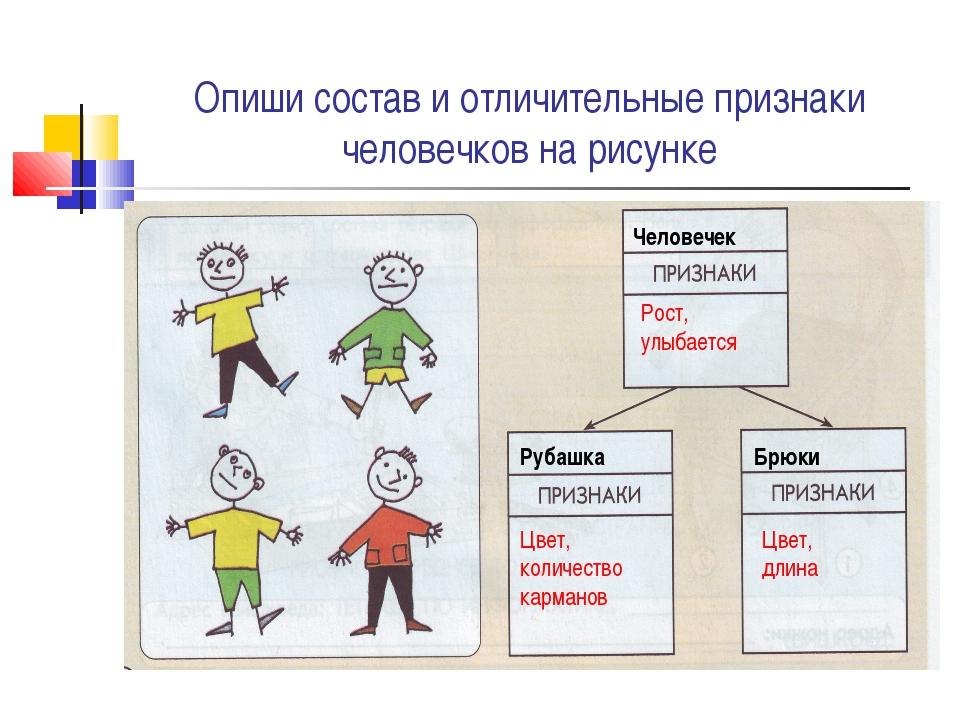 Опиши состав и отличительные признаки человечков на рисунке Человечек Рубашка...