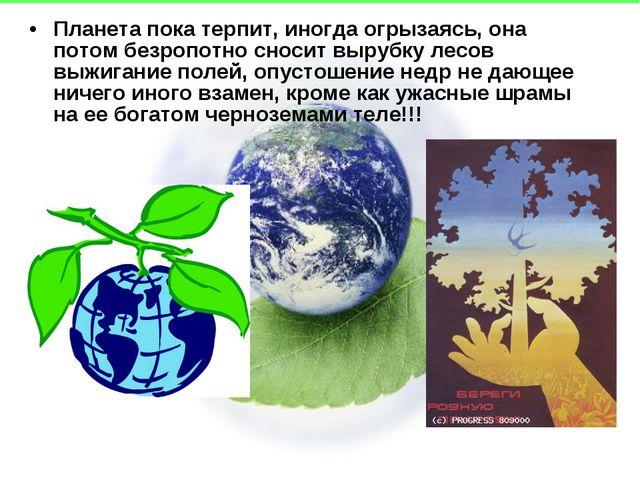 Планета пока терпит, иногда огрызаясь, она потом безропотно сносит вырубку ле...