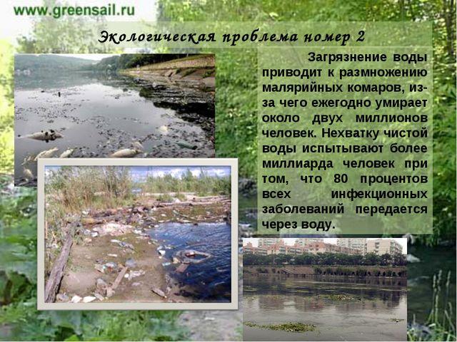 Экологическая проблема номер 2 Загрязнение воды приводит к размножению маляри...