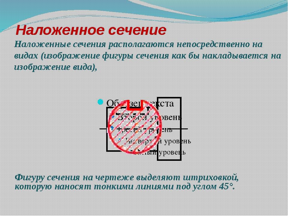 Наложенное сечение Наложенные сечения располагаются непосредственно на видах...