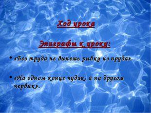 Ход урока Эпиграфы к уроку: «Без труда не вынешь рыбку из пруда». «На одном к