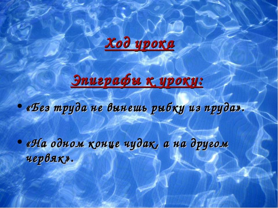 Ход урока Эпиграфы к уроку: «Без труда не вынешь рыбку из пруда». «На одном к...