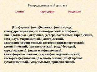 (Пол)армии, (полу)ботинки, (пол)города, (полу)драгоценный, (исконно)русский,