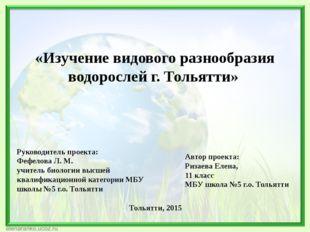 Руководитель проекта: Фефелова Л. М. учитель биологии высшей квалификационной