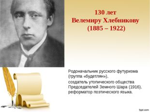 130 лет Велемиру Хлебникову (1885 – 1922) Родоначальник русского футуризма (г