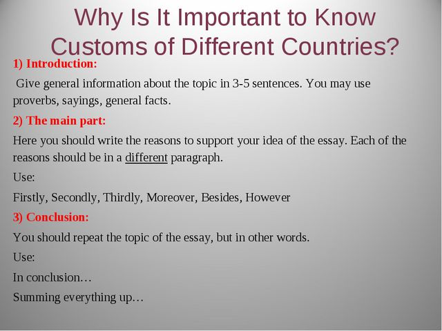 Why Is It Important to Know Customs of Different Countries? 1) Introduction:...