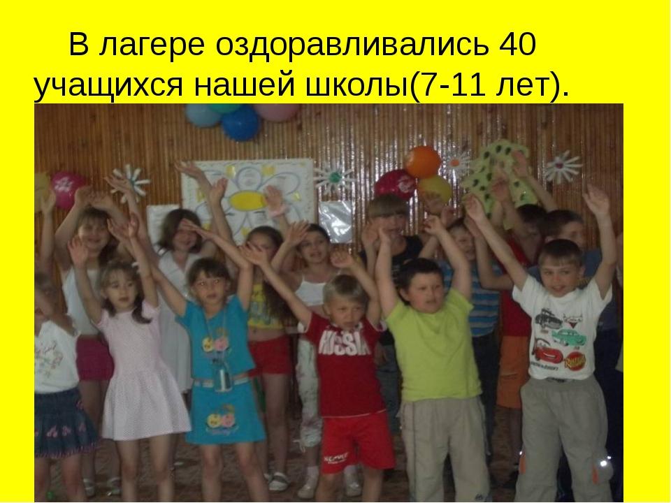 В лагере оздоравливались 40 учащихся нашей школы(7-11 лет).
