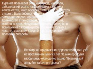 Курение повышает риск инфаркта, инсульта, заболеваний мозга, язвы желудка, г