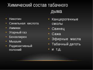 Химический состав табачного дыма Никотин Синильная кислота Аммиак Угарный газ