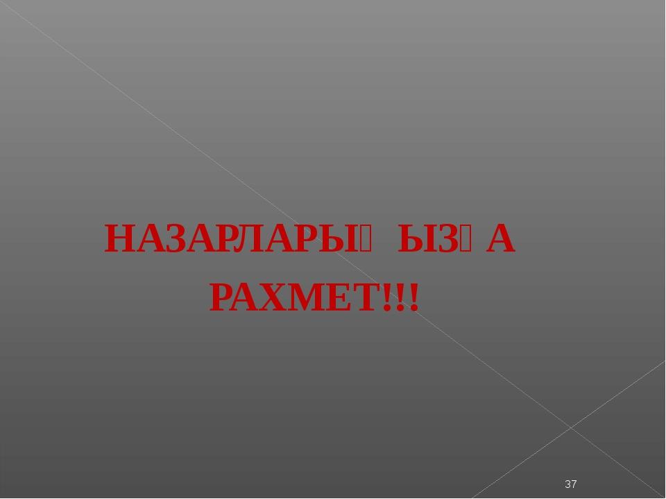 НАЗАРЛАРЫҢЫЗҒА РАХМЕТ!!! *