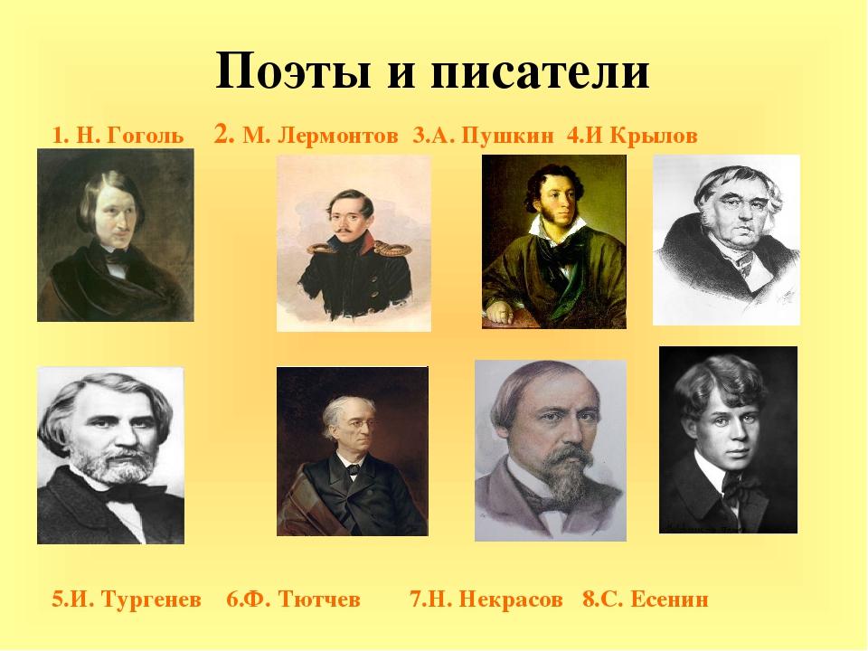 Поэты и писатели 1. Н. Гоголь 2. М. Лермонтов 3.А. Пушкин 4.И Крылов 5.И. Тур...