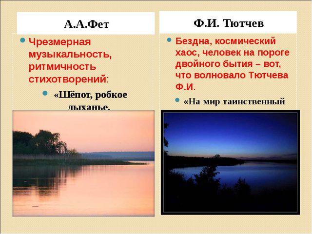 А.А.Фет Ф.И. Тютчев Чрезмерная музыкальность, ритмичность стихотворений: «Шёп...
