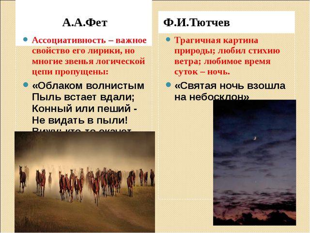 А.А.Фет Ф.И.Тютчев Ассоциативность – важное свойство его лирики, но многие з...