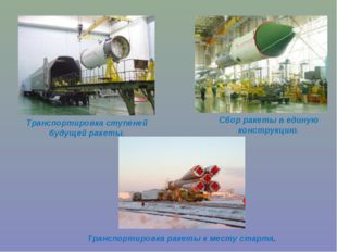 Транспортировка ступеней будущей ракеты. Сбор ракеты в единую конструкцию. Тр