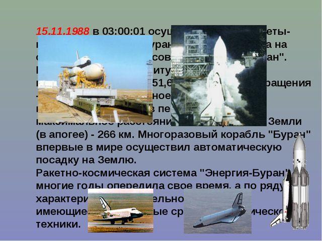 """15.11.1988 в 03:00:01 осуществлен пуск ракеты-носителя """"Энергия-Буран"""", котор..."""
