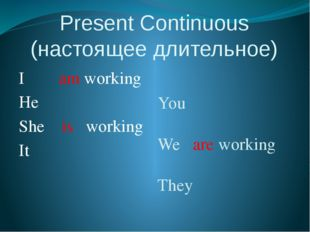 Present Continuous (настоящее длительное) I am working He She is working It Y