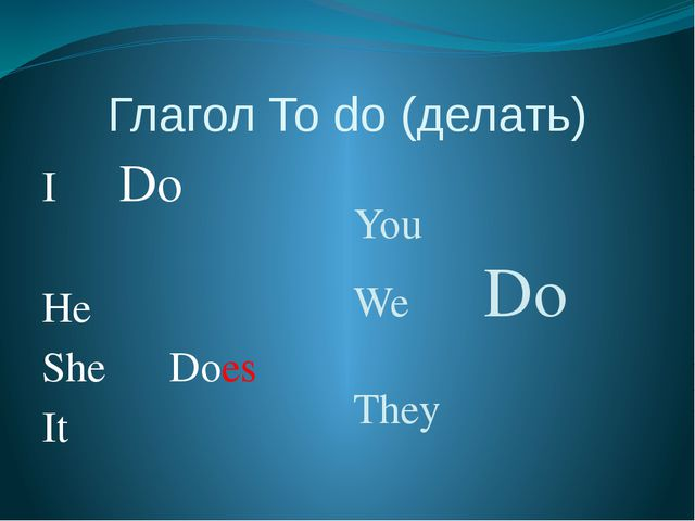 Глагол To do (делать) I Do He She Does It You We Do They