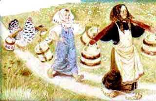 Бабушка, внучка и курочка с коромыслом и ведрами за водой