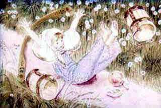 внучка с коромыслом и ведрами за водой споткнулась и упала