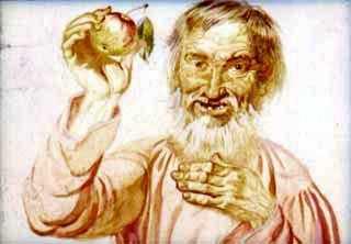 дедушка с яблоком
