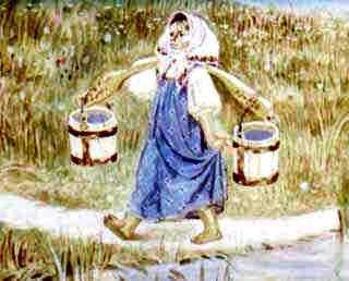 внучка с коромыслом и ведрами за водой
