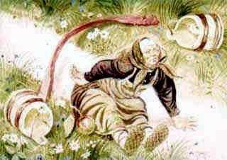 Бабушка с коромыслом и ведрами за водой споткнулась и упала