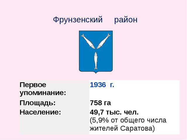 Фрунзенский район Первое упоминание: 1936г. Площадь: 758га Население: 49,7ты...