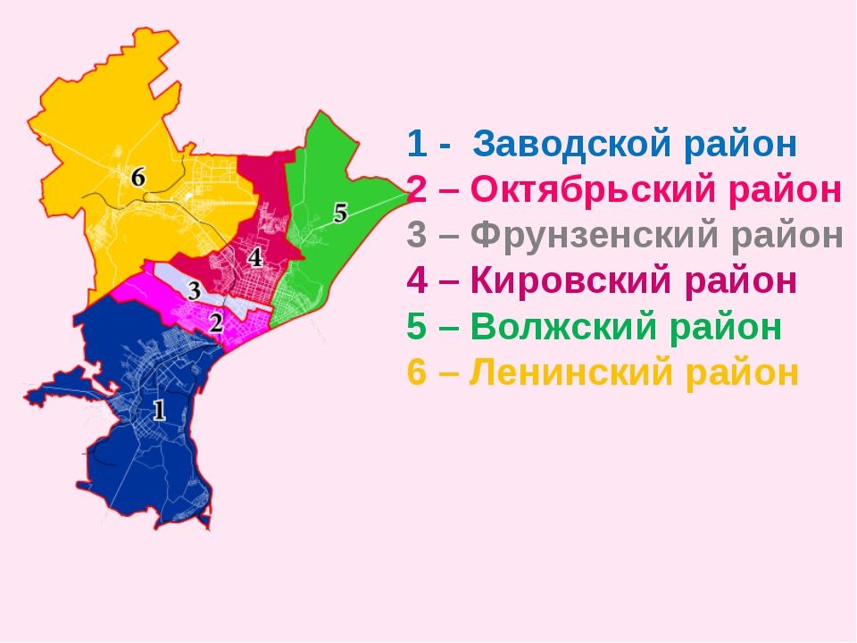 1 - Заводской район 2 – Октябрьский район 3 – Фрунзенский район 4 – Кировский...