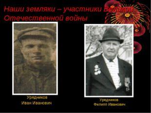 Наши земляки – участники Великой Отечественной войны Урядников Филипп Иванови
