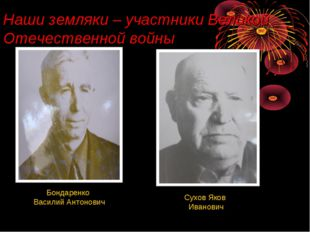 Наши земляки – участники Великой Отечественной войны Бондаренко Василий Антон