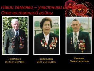 Наши земляки – участники Великой Отечественной войны Гребенькова Вера Василье