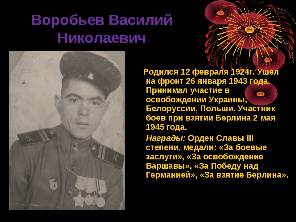 Воробьев Василий Николаевич Родился 12 февраля 1924г. Ушел на фронт 26 январ...