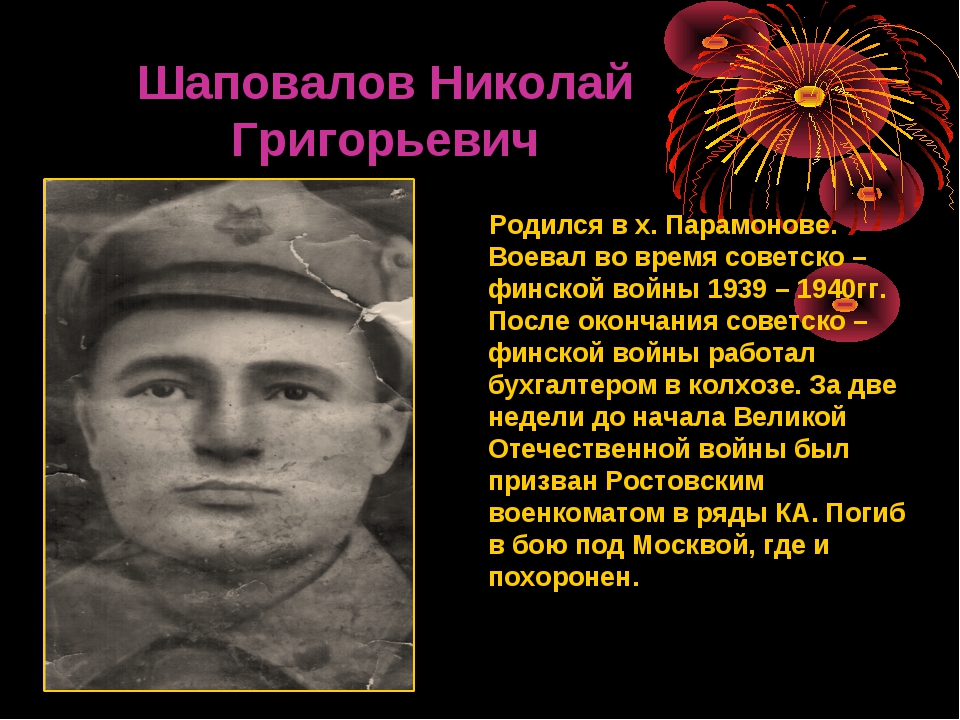 Шаповалов Николай Григорьевич Родился в х. Парамонове. Воевал во время совет...