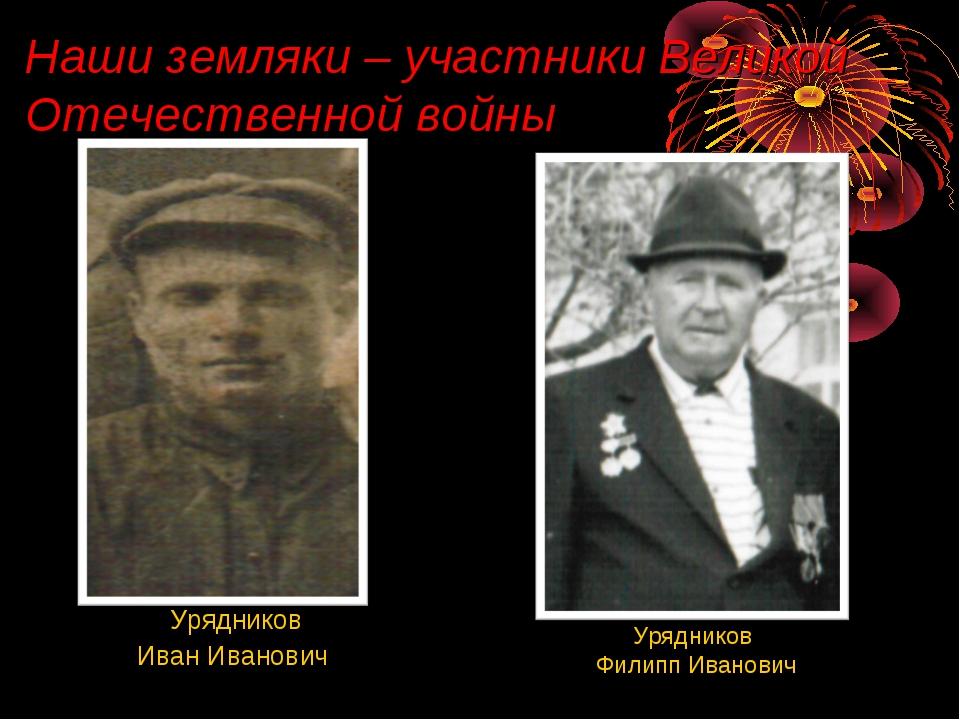 Наши земляки – участники Великой Отечественной войны Урядников Филипп Иванови...