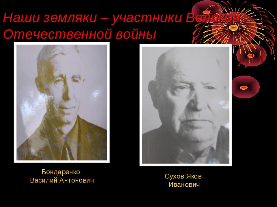 Наши земляки – участники Великой Отечественной войны Бондаренко Василий Антон...