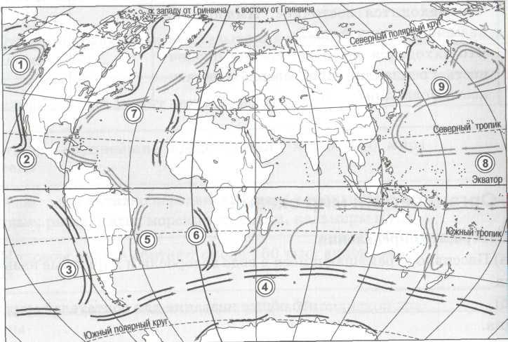 Контурная карта 7 класс атлантический океан законченная
