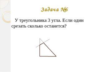 Задача №6 У треугольника 3 угла. Если один срезать сколько останется?