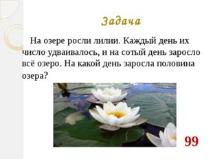 Задача На озере росли лилии. Каждый день их число удваивалось, и на сотый ден