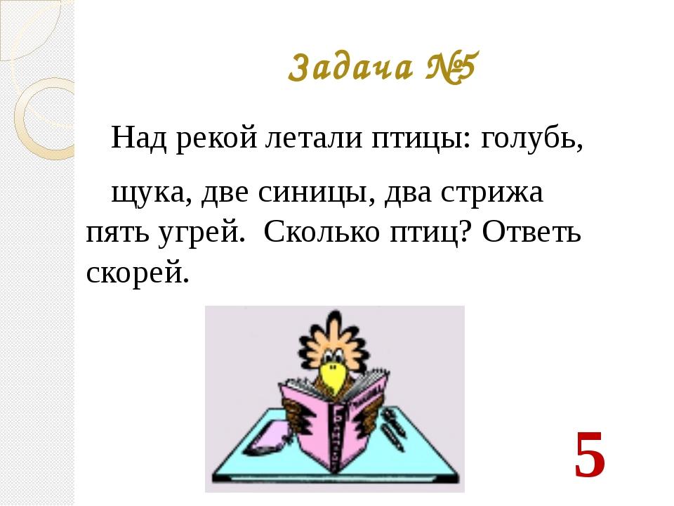 Задача №5 Над рекой летали птицы: голубь, щука, две синицы, два стрижа пять у...
