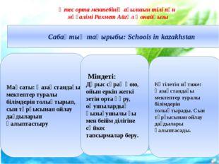 Сабақтың тақырыбы: Schools in kazakhstan Мақсаты: Қазақстандағы мектептер ту