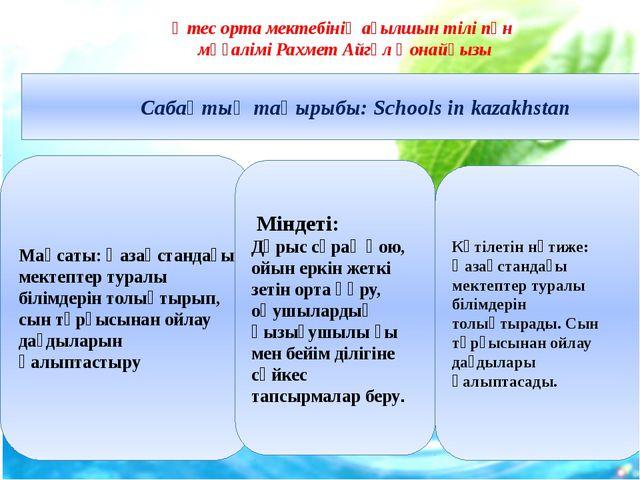 Сабақтың тақырыбы: Schools in kazakhstan Мақсаты: Қазақстандағы мектептер ту...