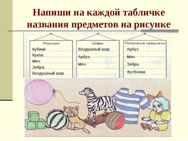 Напиши на каждой табличке названия предметов на рисунке Кубики Кукла Мяч Зебр...