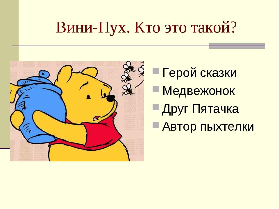 Вини-Пух. Кто это такой? Герой сказки Медвежонок Друг Пятачка Автор пыхтелки