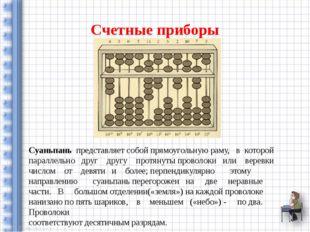 Счетные приборы Суаньпань представляет собой прямоугольную раму, в которой па