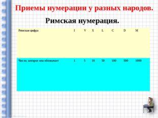 Приемы нумерации у разных народов. Римская нумерация. Римская цифра I V X L C