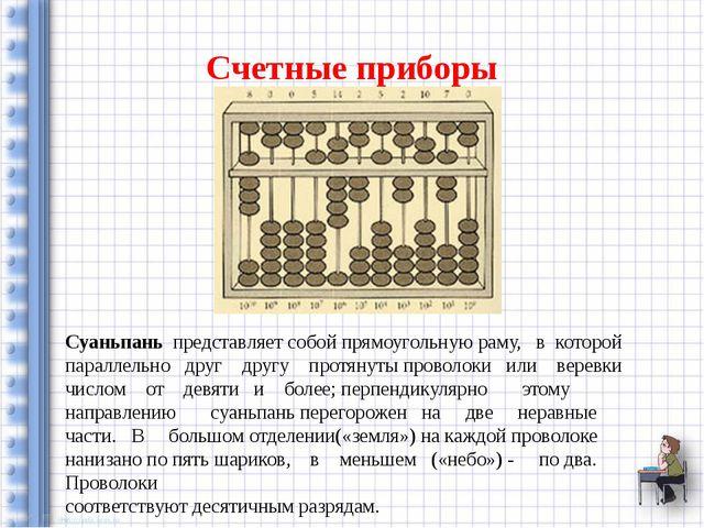 Счетные приборы Суаньпань представляет собой прямоугольную раму, в которой па...