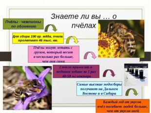 Знаете ли вы … о пчёлах Пчёлы - чемпионы по обонянию Для сбора 100 гр. мёда,