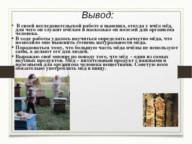 Вывод: В своей исследовательской работе я выяснил, откуда у пчёл мёд, для чег...